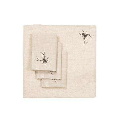 0.1 in. H x 20 in. W x 20 in. D Halloween Creepy Spiders Napkins in Natural (Set of 4)