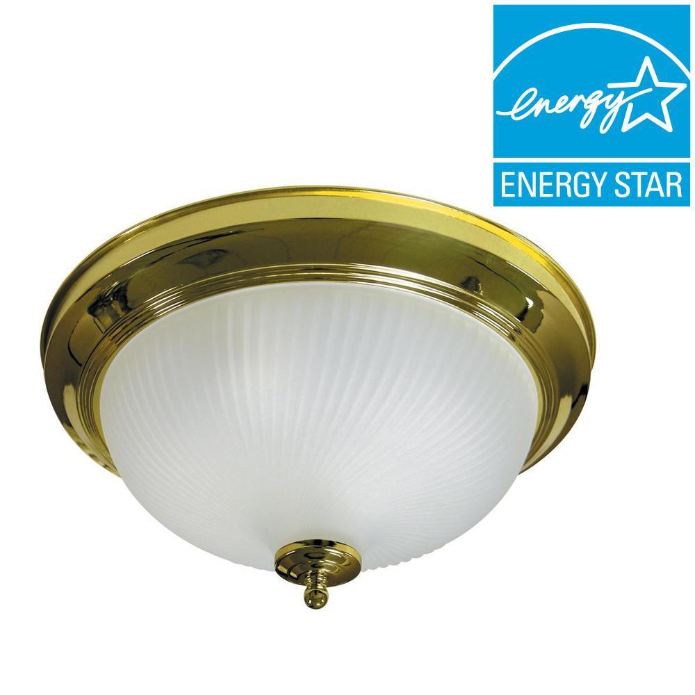 Max Lite 2-Light Polished Brass Fluorescent Flushmount