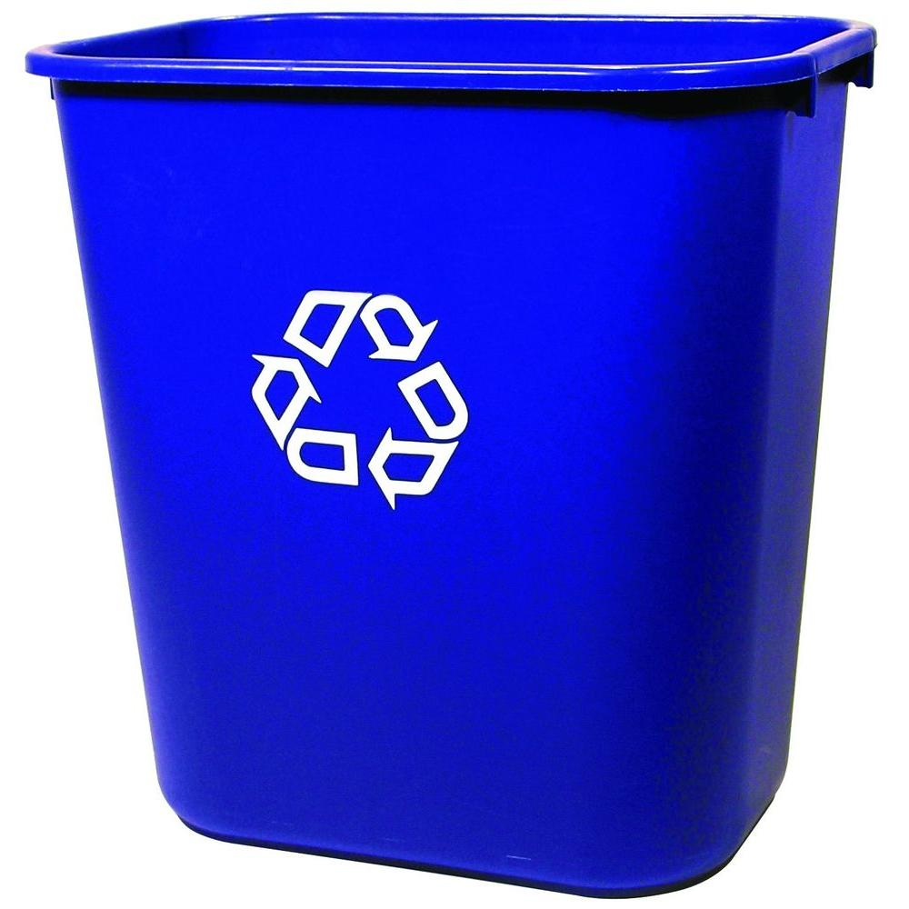 Deskside Recycling Bin With Universal Recycle Symbol In Blue