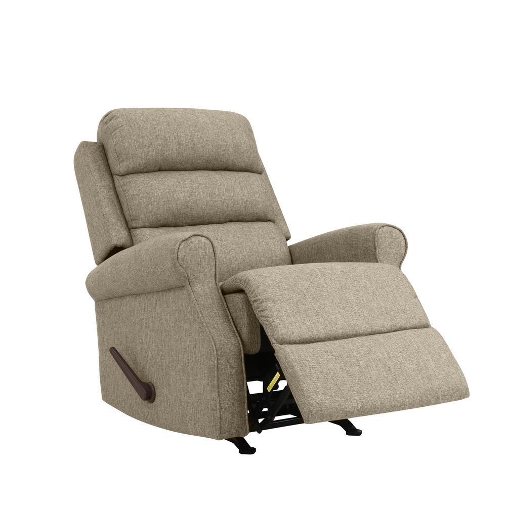 Rocker in Renu Performance Tested Latte Tan Textured Fabric Recliner Chair