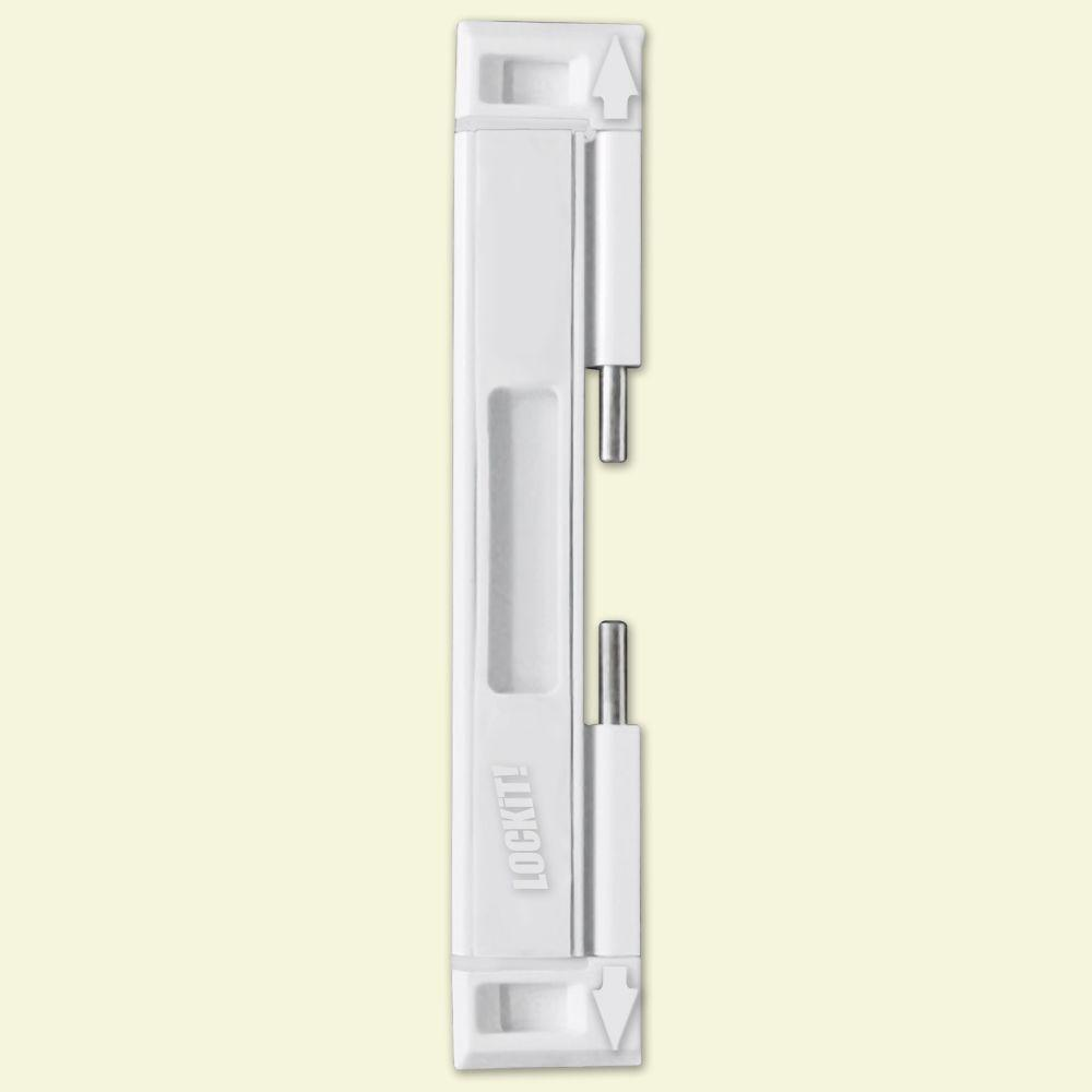 Lockit white double bolt sliding door lock 200100200 for Double sliding doors