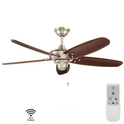 Altura 48 in. Brushed Nickel Wi-Fi Enabled Smart Ceiling Fan with Remote - Works with Google Assistant and Alexa