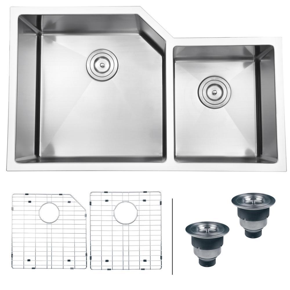 33 In. Double Bowl 60/40 Undermount 16 Gauge Stainless Steel Kitchen Sink