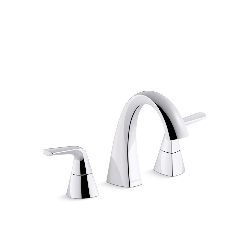 KOHLER Elmbrook 8 in  Widespread 2 Handle Bathroom Faucet in Polished Chrome. KOHLER Elmbrook 8 in  Widespread 2 Handle Bathroom Faucet in