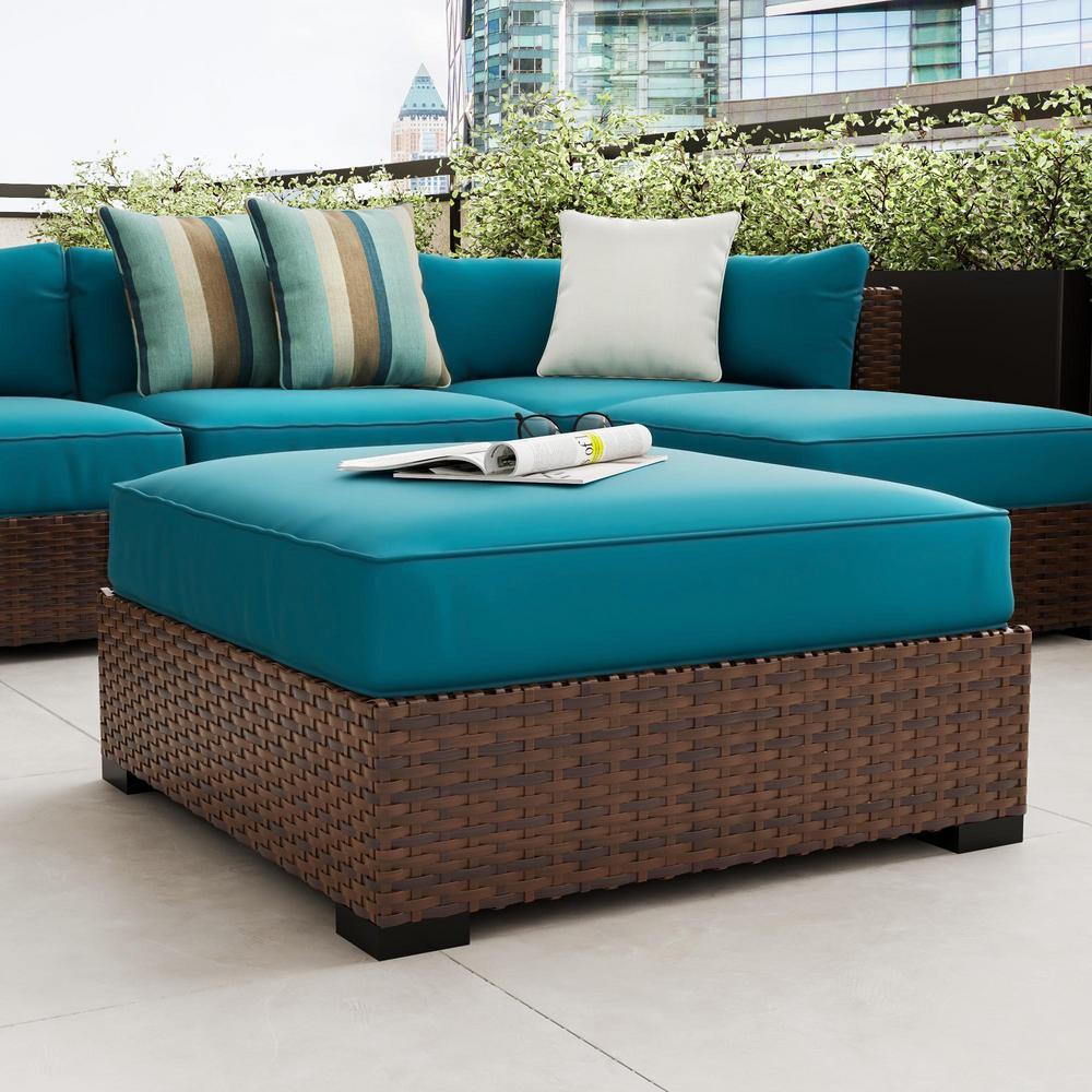 Commercial Grade Outdoor Patio Ottoman Cushion in Sunbrella Canvas Teal
