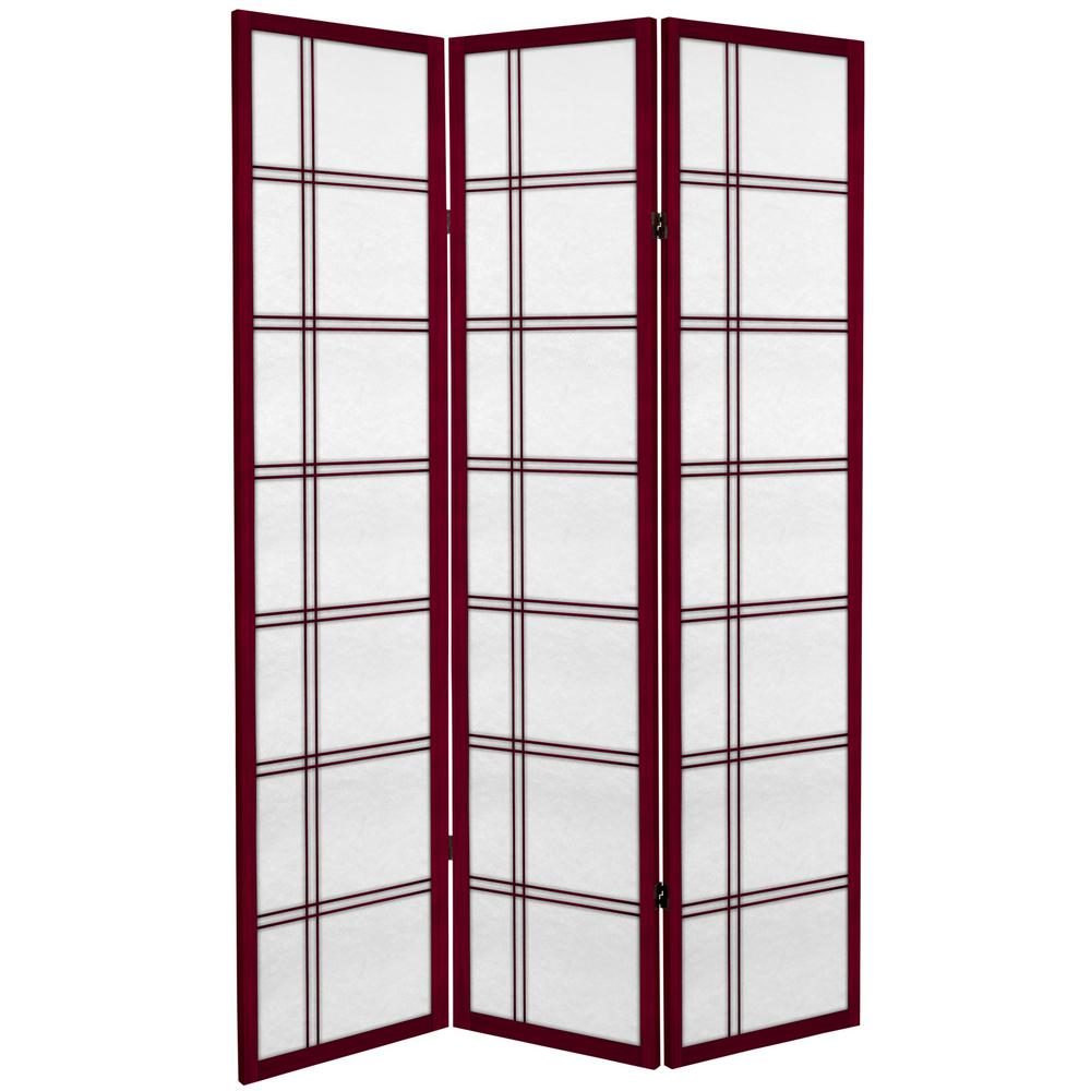 Oriental Furniture 6 Ft Rosewood Canvas Double Cross 3 Panel Room