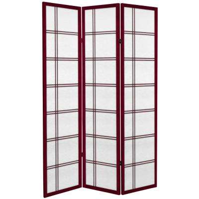 6 ft. Rosewood Canvas Double Cross 3-Panel Room Divider