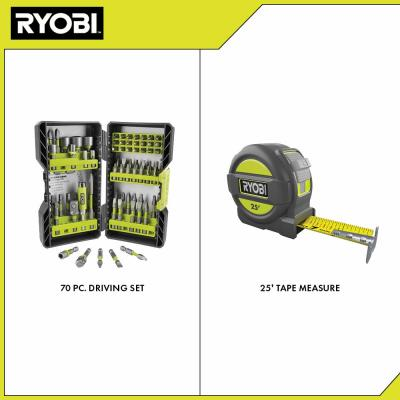 Impact Rated Driving Kit (70-Piece) with BONUS 25FT Tape Measure