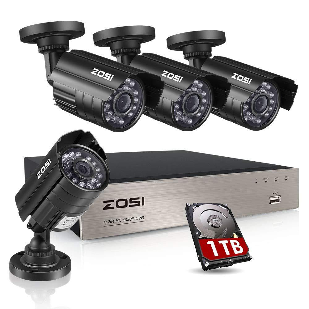 ZOSI 8-Channel 1080p 1TB DVR Security Camera System with 4 Wired Bullet  Cameras