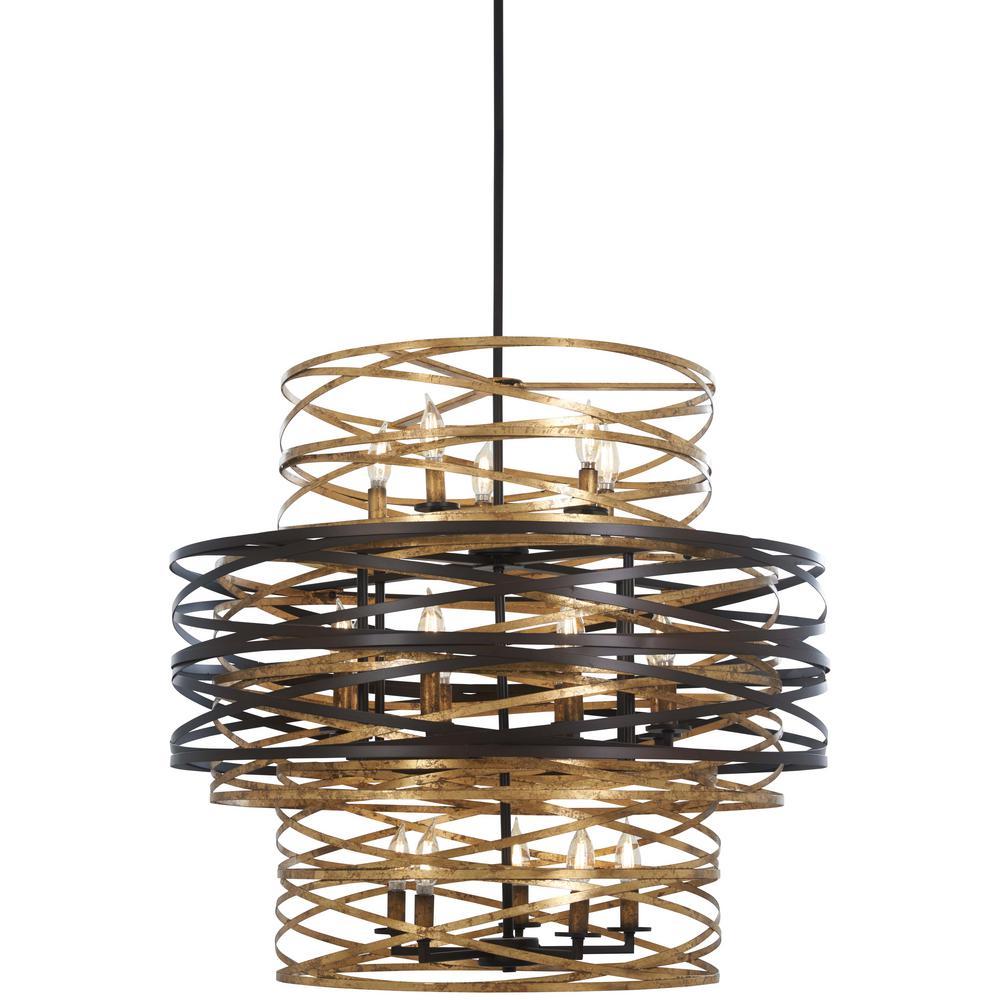 Vortic Flow 18-Light Dark Bronze Chandelier with Mosaic Gold Interior