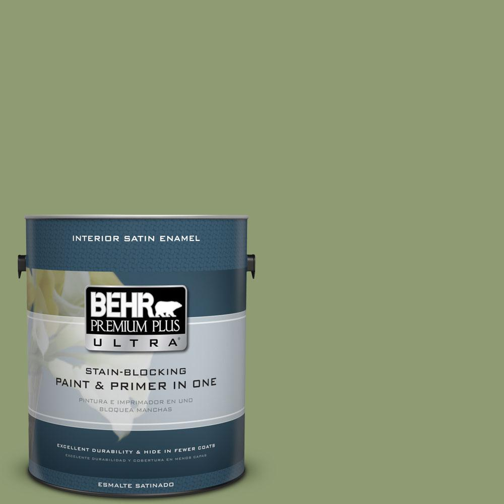 BEHR Premium Plus Ultra 1-Gal. #PPU11-4 Alamosa Green Satin Enamel Interior Paint