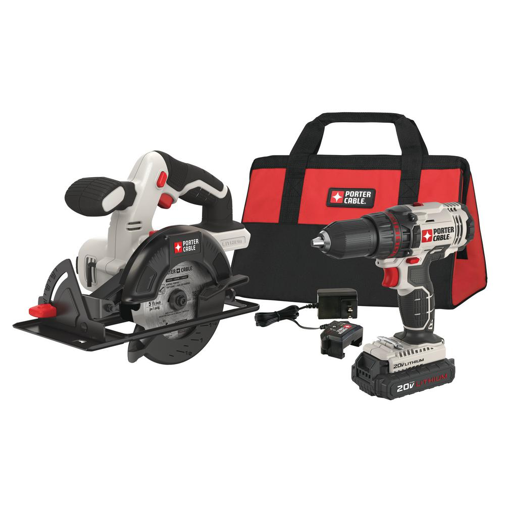 Porter-Cable 20-Volt MAX Lithium-Ion Cordless Combo Kit (2-Tool) with 2 Batteries 1.3 Ah, Charger and Bag