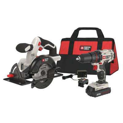 20-Volt MAX Lithium-Ion Cordless Combo Kit (2-Tool) with Battery 1.3 Ah, Charger and Bag