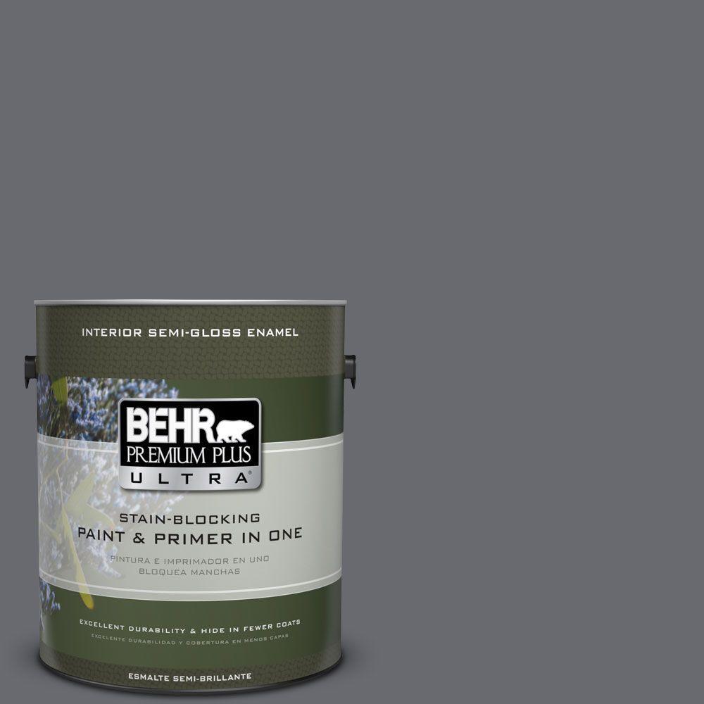 1 gal. #T16-15 Charcoal Plum Semi-Gloss Enamel Interior Paint