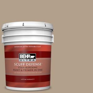 Behr Ultra 5 Gal Pwl 85 Stepping Stones Extra Durable Flat Interior Paint Primer 172405 The Home Depot