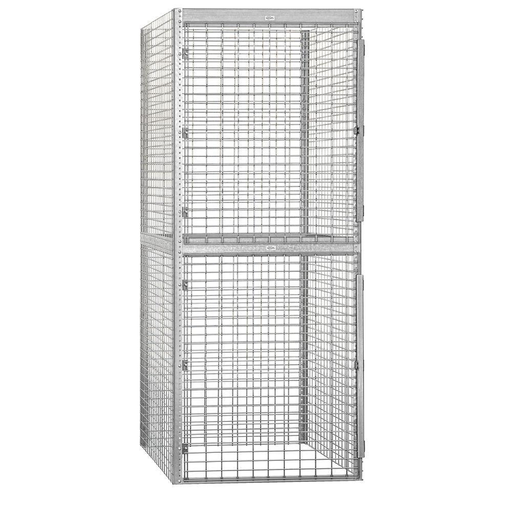 Salsbury Industries 8200 Series 36 in. W x 90 in. H x 48 in. D 2-Tier Bulk Storage Locker Starter in Aluminum