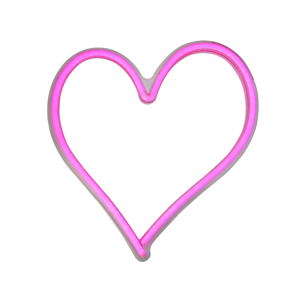 13.5 in. Neon Style LED Lighted Valentine's Day Heart Window Silhouette