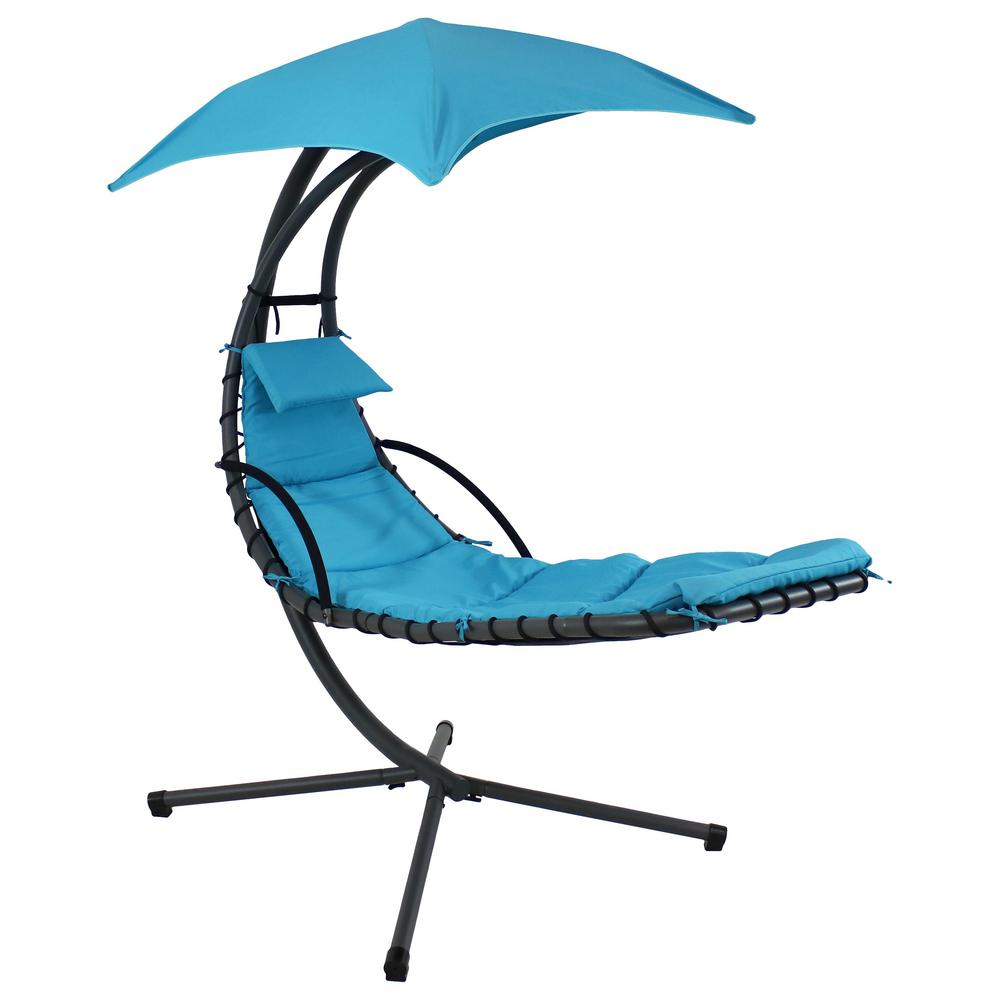 Fine Sunnydaze Decor Steel Outdoor Floating Chaise Lounge Chair With Teal Cushion Machost Co Dining Chair Design Ideas Machostcouk