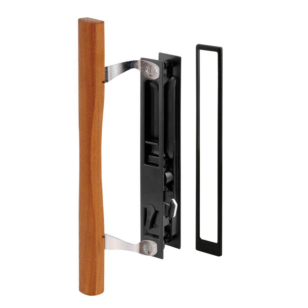 Sliding Door Handle Set Black Diecast Wood Pull, Croft