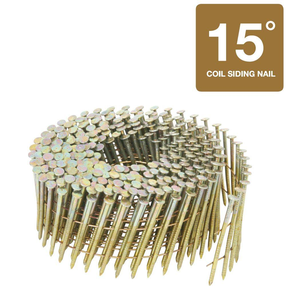 Hitachi 2-1/2 in. x 0.092 in. Ring Shank Electro Galvanized Wire Coil Siding Nails (3,600-Pack)
