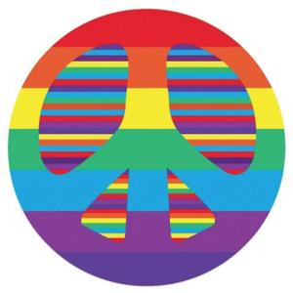 LA Rug Fun Time Shape Peace Multi Colored 39 inch Round Accent Rug by LA Rug