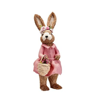 17 in. Standing Bunny in Dress with Basket