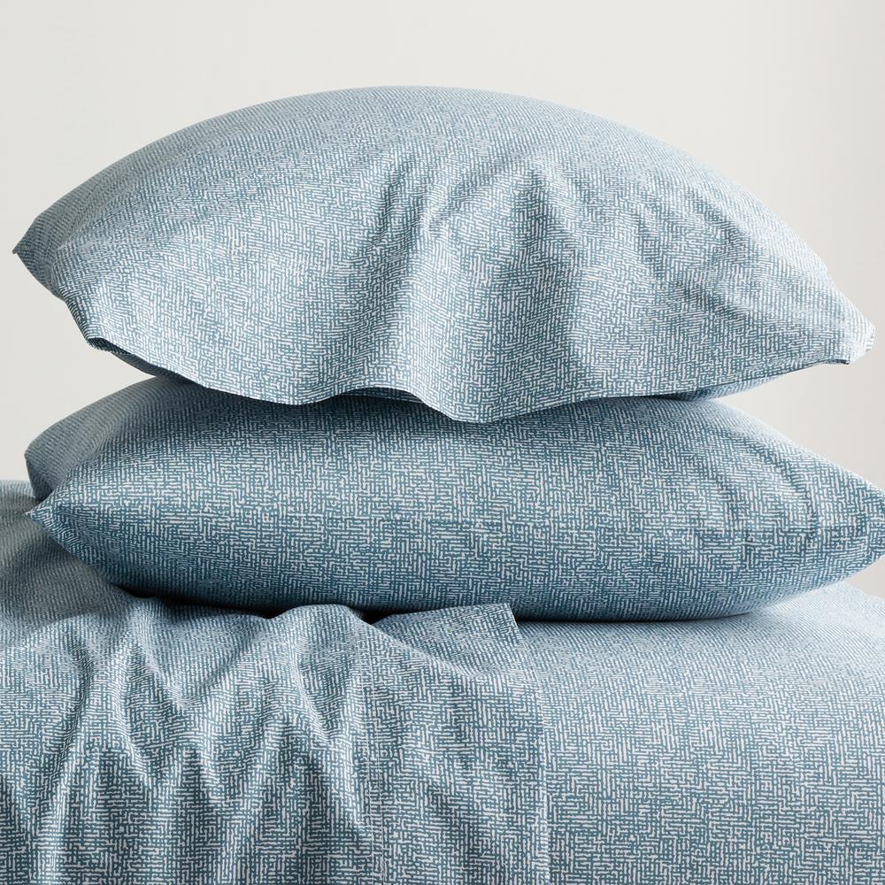 LoftHome Maze Denim Blue Geometric 200-Thread Count Organic Cotton Percale Standard Pillowcase (Set of 2)