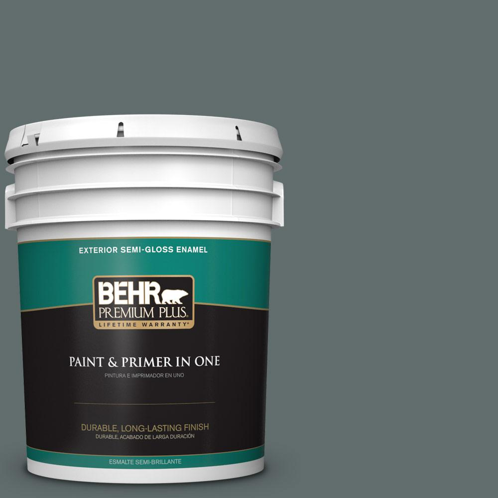 5 gal. #PPU12-19 Mountain Pine Semi-Gloss Enamel Exterior Paint