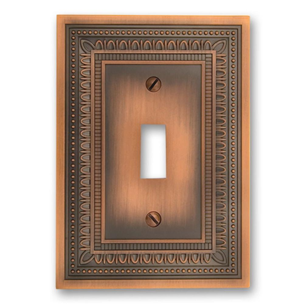 Amerelle Filigree 1 Toggle Wall Plate Antique Copper