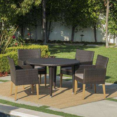 Carlton Multi-Brown 5-Piece Wicker Outdoor Dining Set with Mocha Cushions