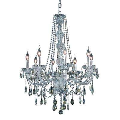 8-Light Chrome Chandelier with Golden Teak, Smoky Crystal
