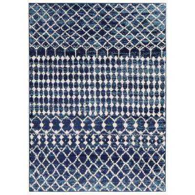 Jasmin Collection Moroccan Trellis Navy/Ivory 7 ft. 10 in. x 9 ft. 10 in. Area Rug