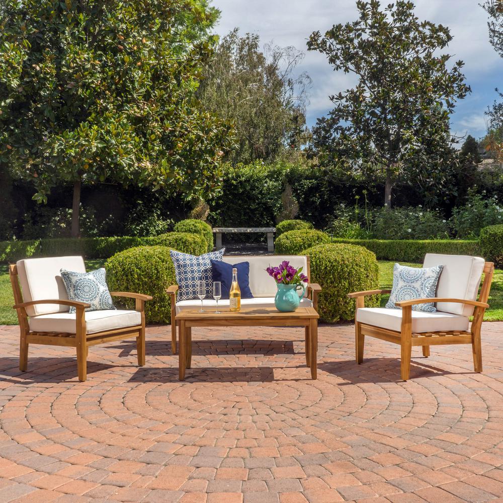 Noble House Peyton Teak Finish 4-Piece Wood Patio Conversation Set with Beige Cushions