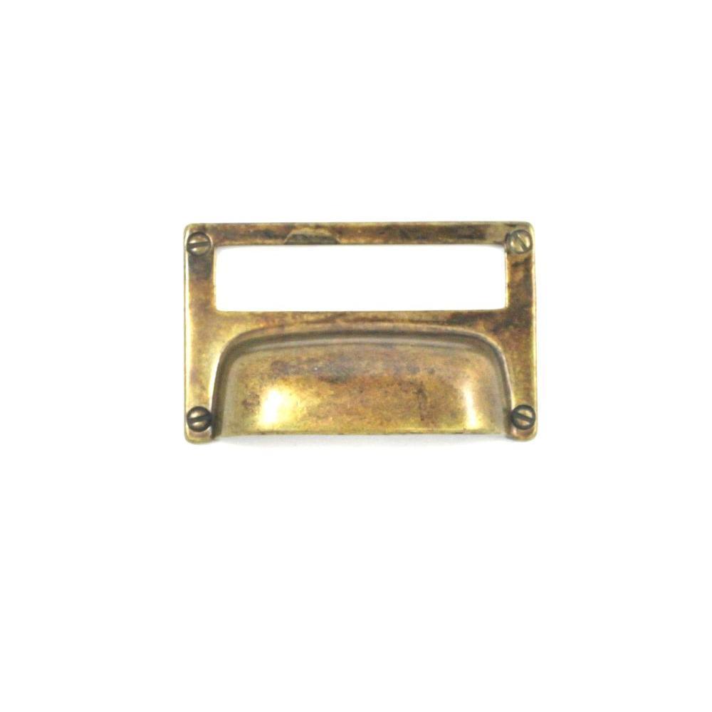 3.15 in. Antique Brass Distressed Bin Pull Card Holder