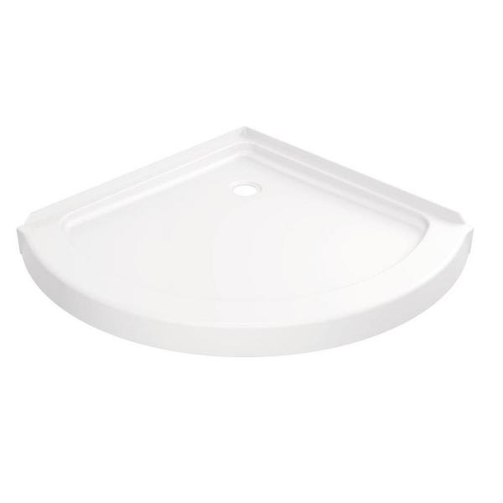 38 in. x 38 in. Round Corner Shower Base in White