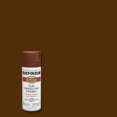 12 oz. Protective Enamel Flat Brown Spray Paint
