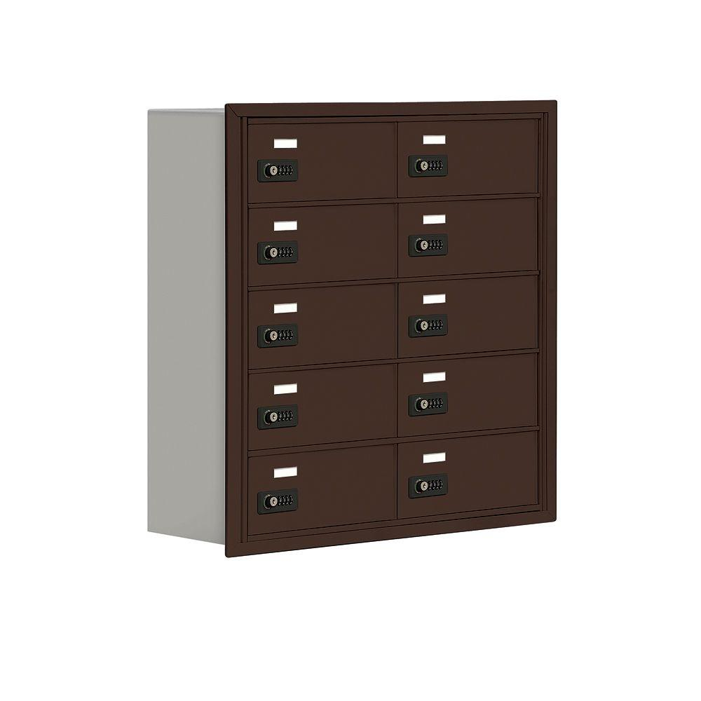 Salsbury Industries 19000 Series 30.5 in. W x 31 in. H x 8.75 in. D 10 B Doors R-Mount Resettable LocksCell Phone Locker in Bronze