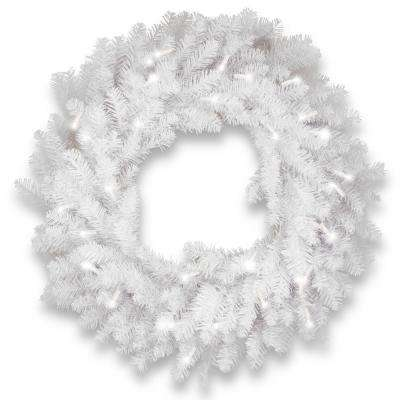 30 in. Dunhill White Fir Wreath with Clear Lights