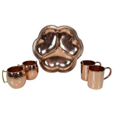 Handcrafted 5-Piece Party Set of 100% Copper, Mug Cups, Straws and 13 in. Round Serving Tray