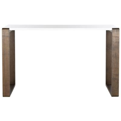 Bartholomew 51 in. Dark Brown/White Standard Rectangle Wood Console Table