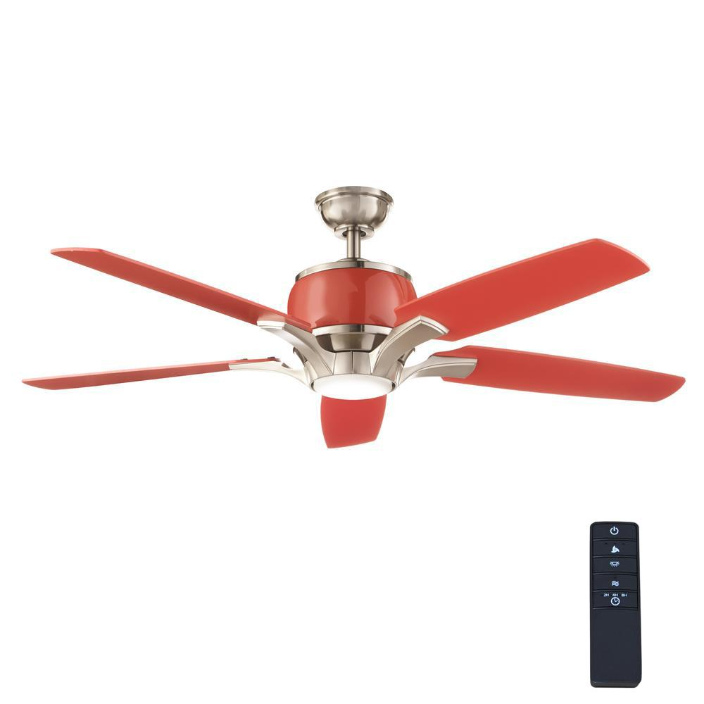 Home Decorators Collection Raymont 52 In. Integrated LED Indoor Brushed  Nickel And Red Ceiling Fan