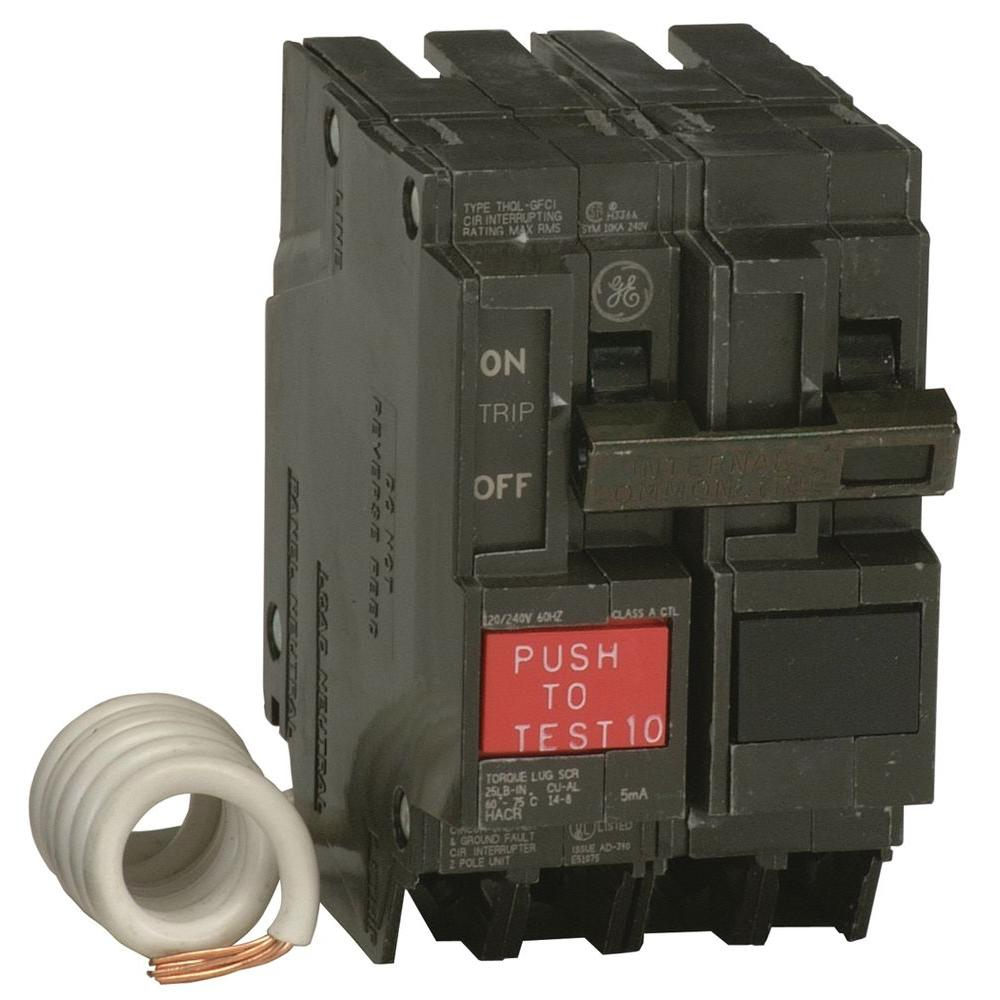 GE 50 Amp 2-1/4 in. Double-Pole GFCI Circuit Breaker