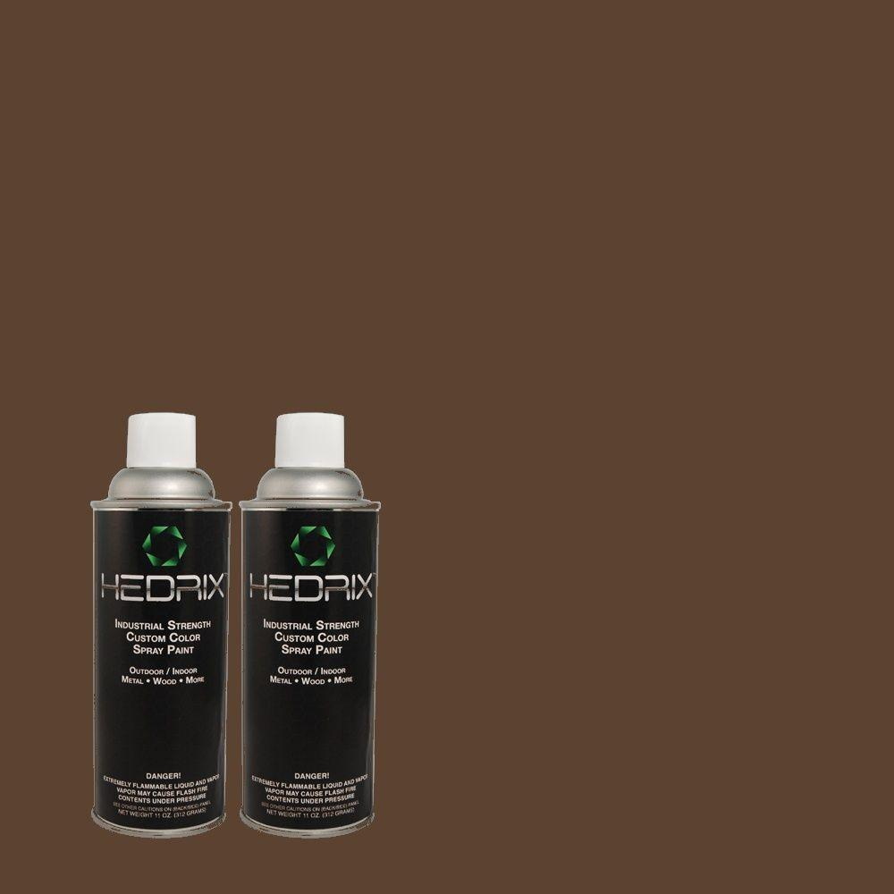 Hedrix 11 oz. Match of 790B-7 Bitter Chocolate Semi-Gloss Custom Spray Paint (2-Pack)
