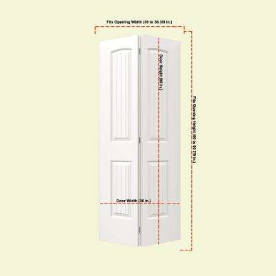 36 in. x 80 in. Santa Fe White Painted Smooth Molded Composite MDF Closet Bi-Fold Door