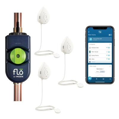 Flo by Moen 1.25 in. Smart Water Leak Detector with Automatic Water Shutoff Valve with Smart Water Detector (3-Pack)