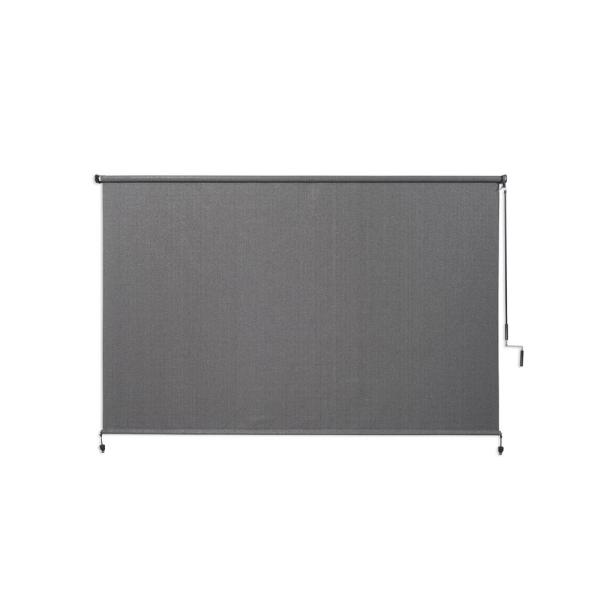 Pewter Cordless Light Filtering Fade Resistant Fabric Exterior Roller Shade 96 in. W x 72 in. L
