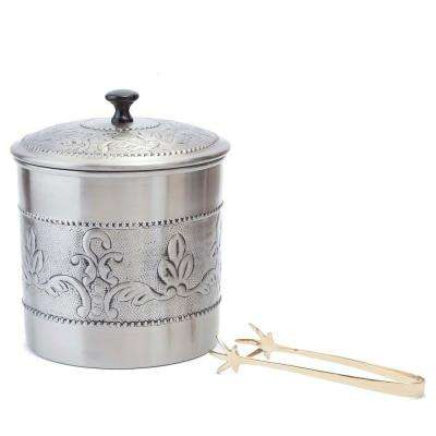 3 qt. Antique Embossed Victoria Ice Bucket with Liner and Tongs
