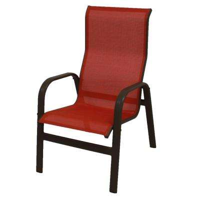 Marco Island Dark Cafe Brown Commercial Grade Aluminum Sling Outdoor Dining Chair In Metallica Salsa
