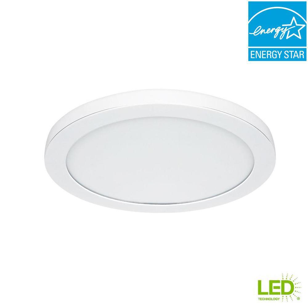 Commercial Electric 15 In White Led Edge Lit Flat Round Panel Flush Mount Light