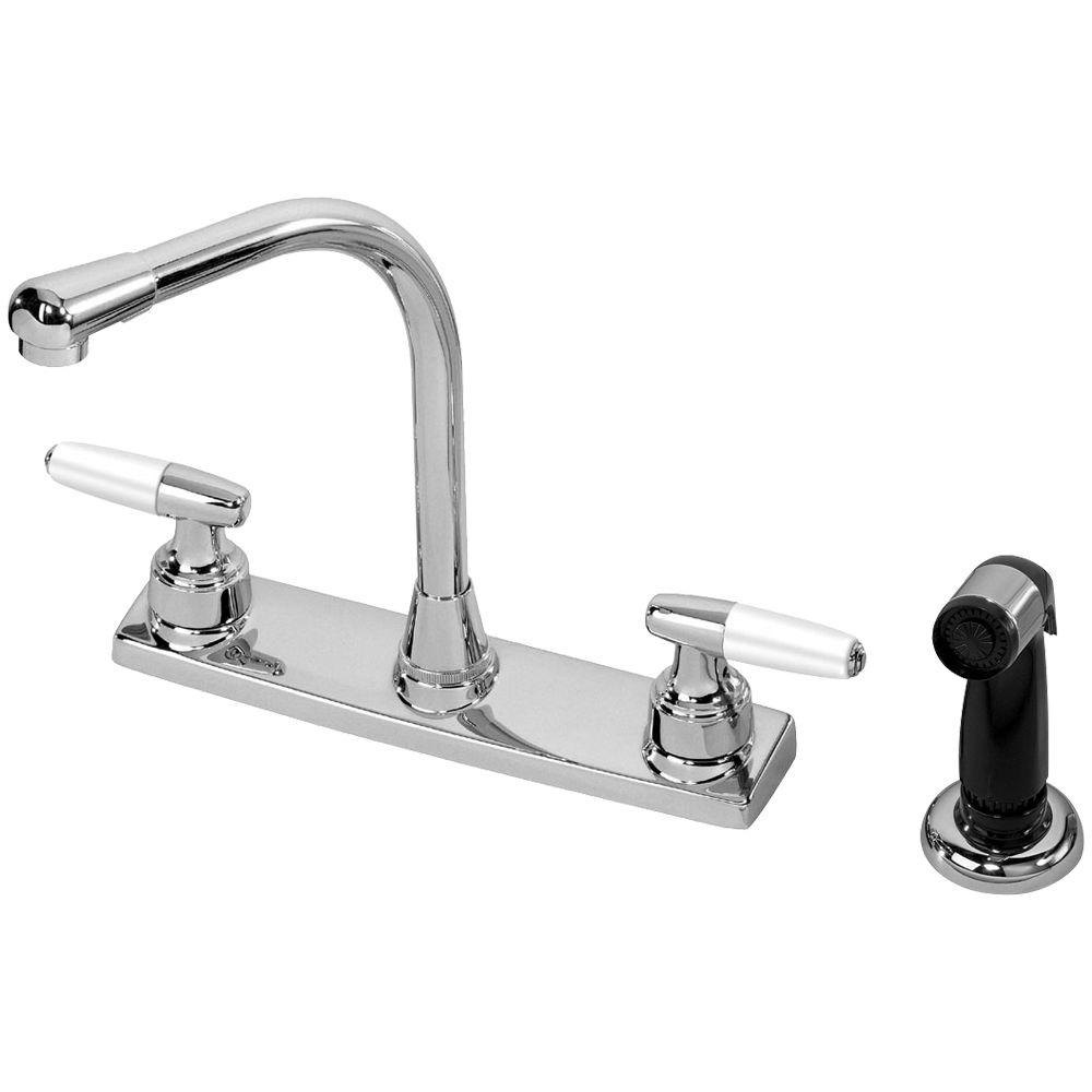 2 handle kitchen faucet homewerks worldwide 2 handle standard kitchen faucet with black side sprayer in chrome 41 2934